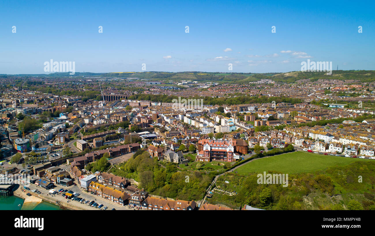 Aerial photography of Folkestone city, Kent, England - Stock Image