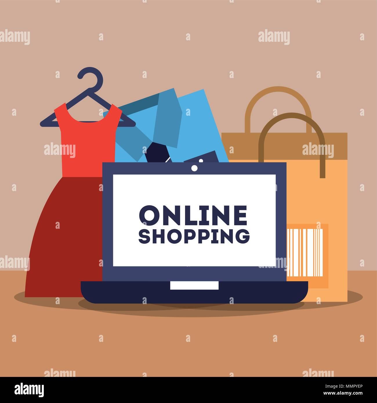 online shopping commerce - Stock Vector