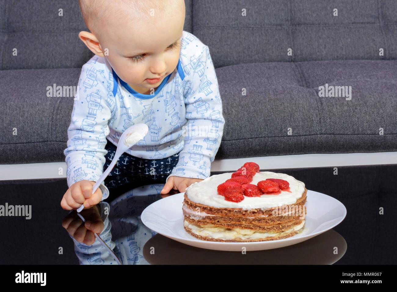 First Birthday Celebration Of A Little Boy Little Boy Eating