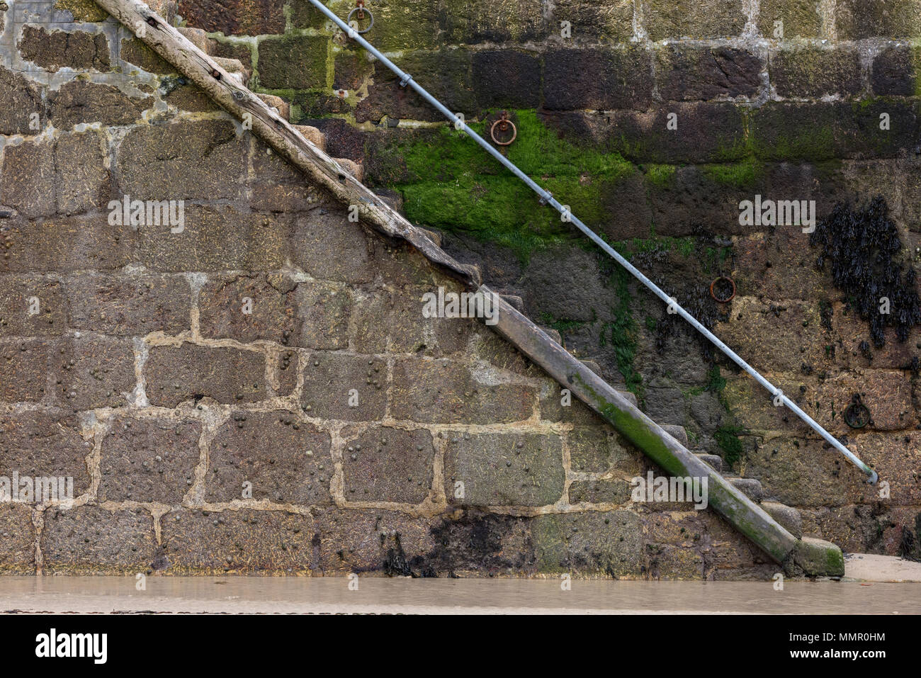 a set of steps or stairs on the harbour wall at st ives in cornwall. seaweed covered slippery steps. - Stock Image