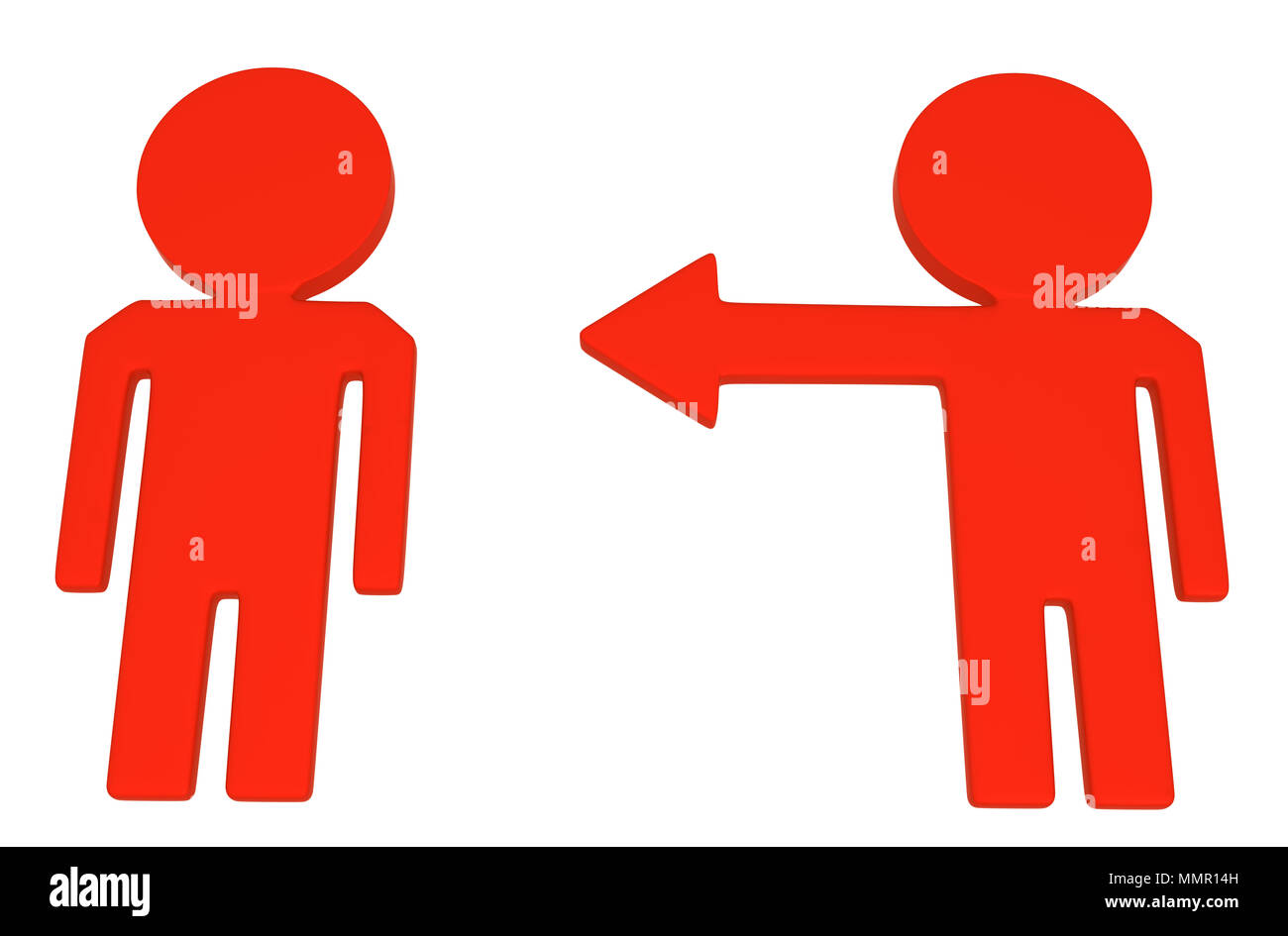 Red symbolic arrow people symbol pointing, 3d illustration, horizontal, over white, isolated - Stock Image