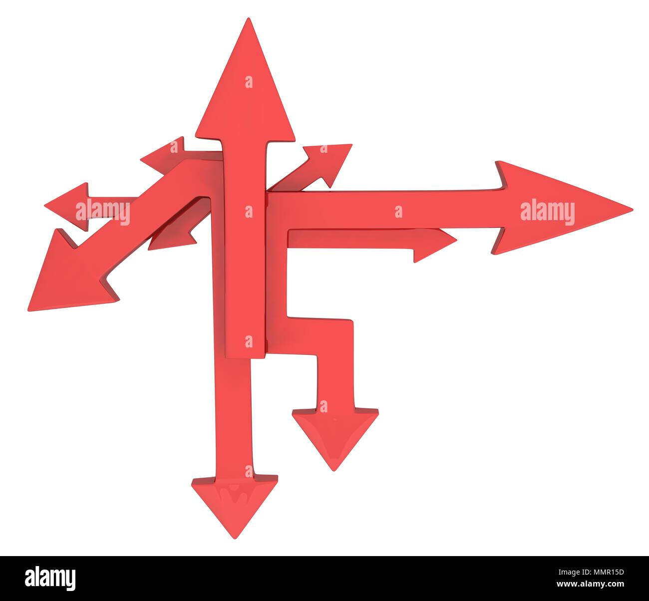 red arrow figure pointing symbol 3d illustration horizontal