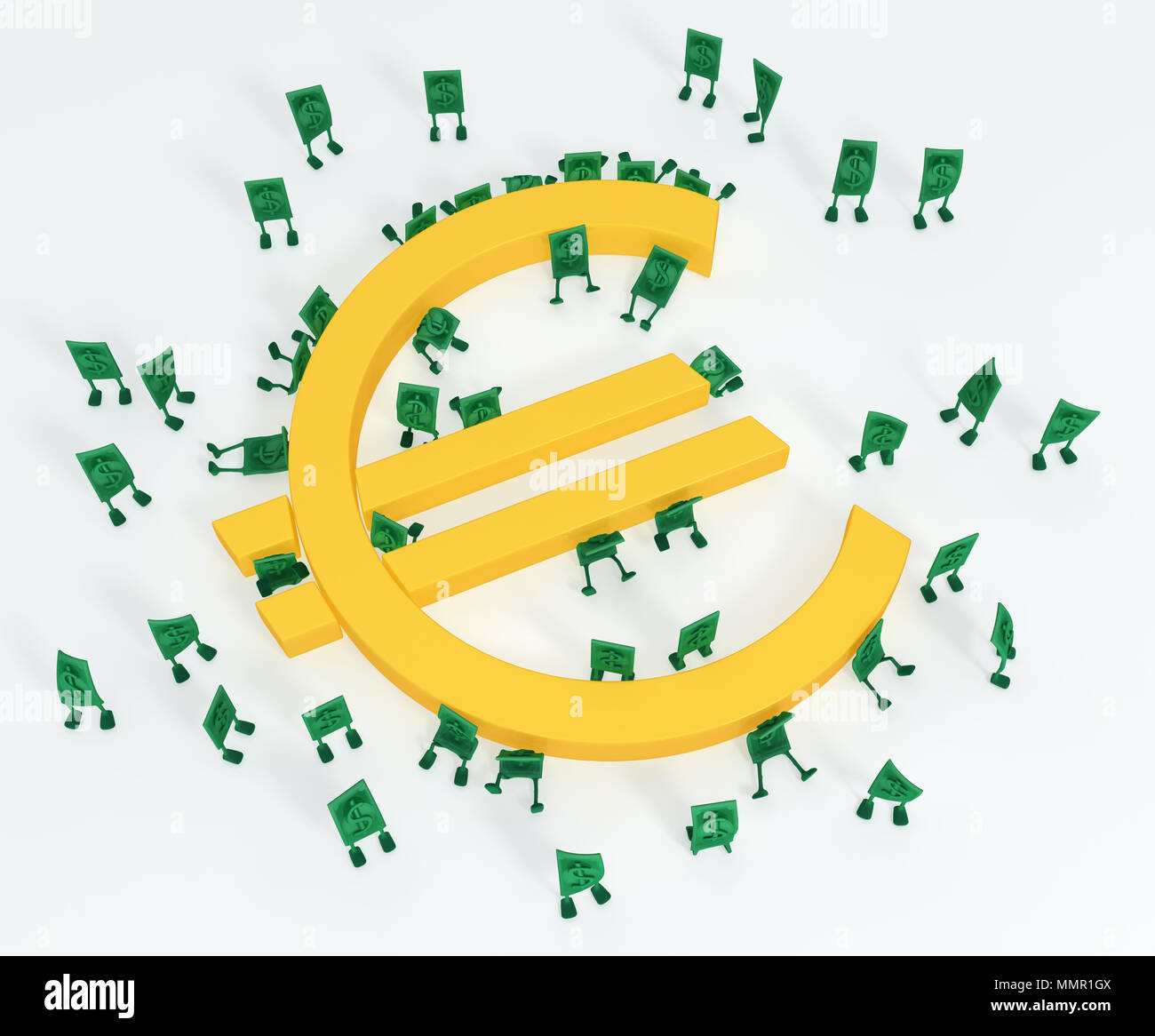 Dollar Money Symbol Cartoon Characters With Euro 3d Illustration