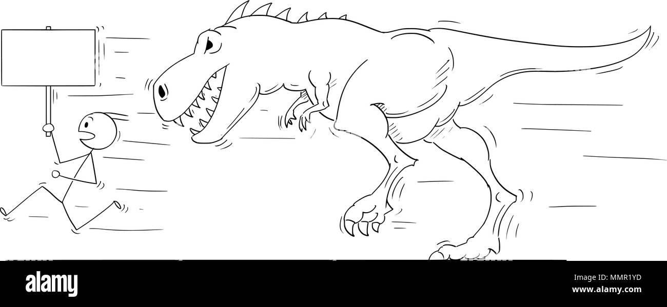 Cartoon of Man or Businessmen Running Away From Monster Tyrannosaurus or Dinosaur Godzilla Creature - Stock Image