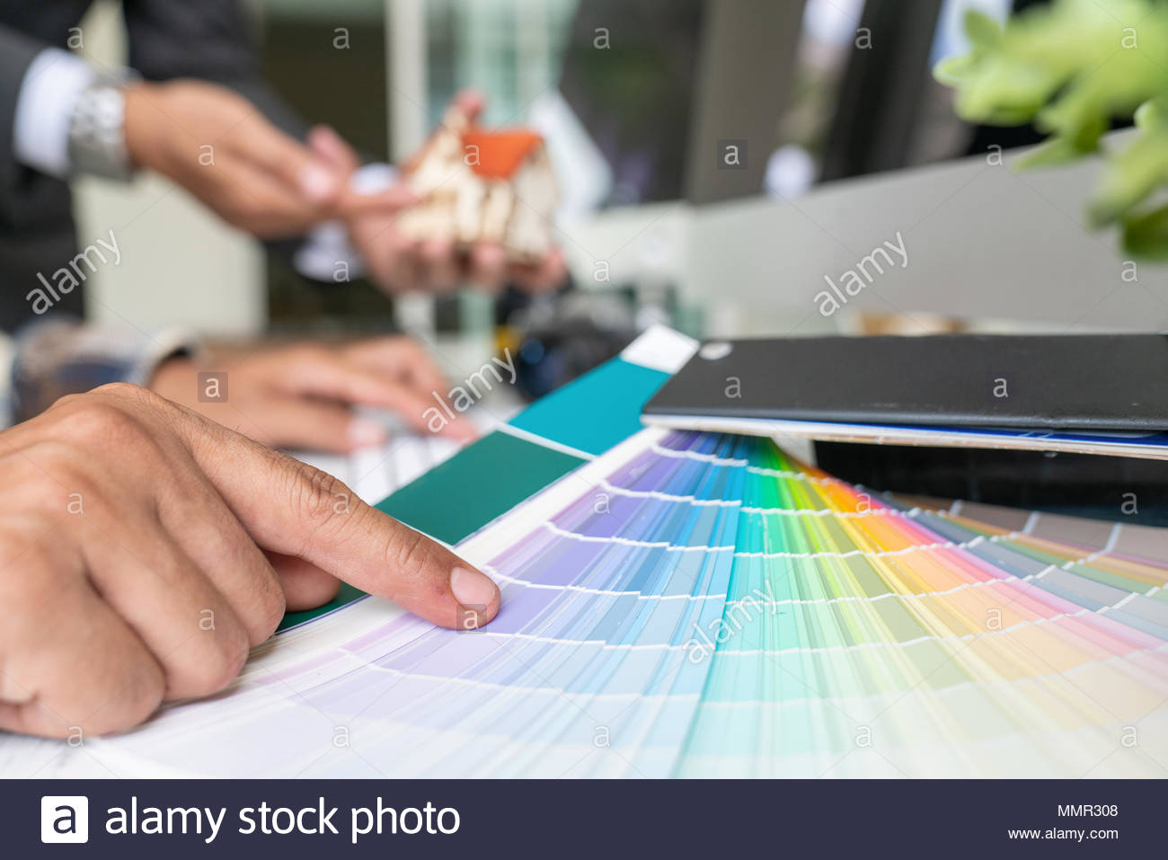 office color palette trendy closeup view of hands young designer woman working with color palette at office desk attractive model choosing creative people workplace