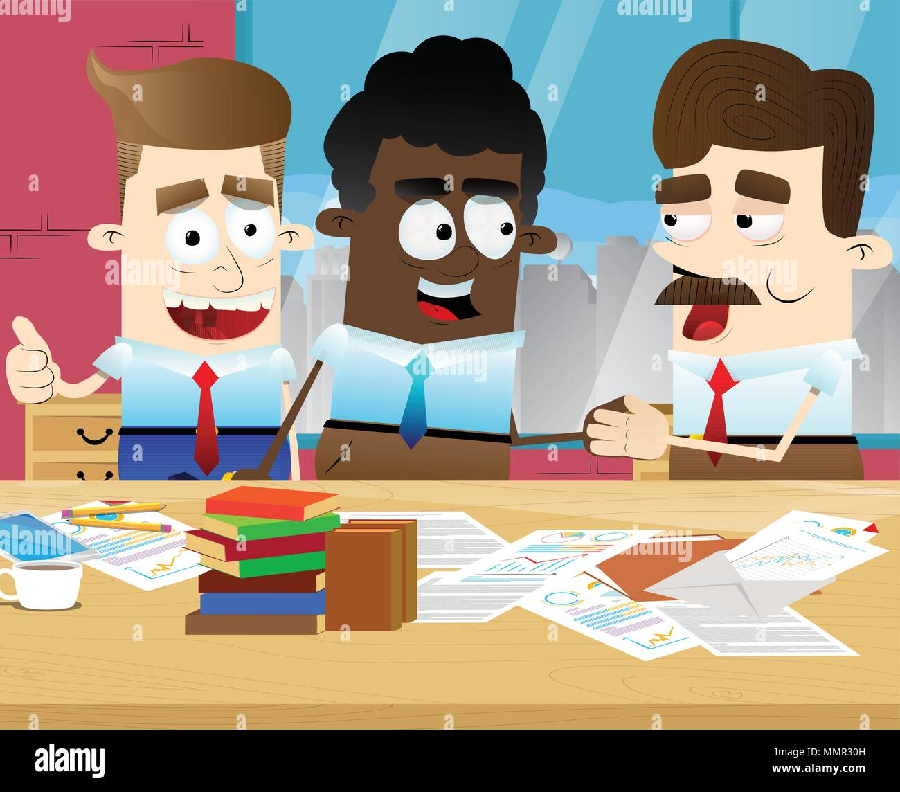 Two Businessmen shaking hands and a third showing ok sign in an office. Vector illustration of cartoon business concept. - Stock Vector