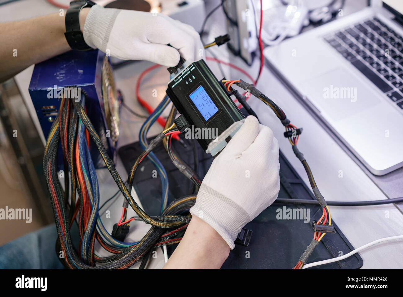 Work with a the computer\'s power supply. Microelectronics device ...