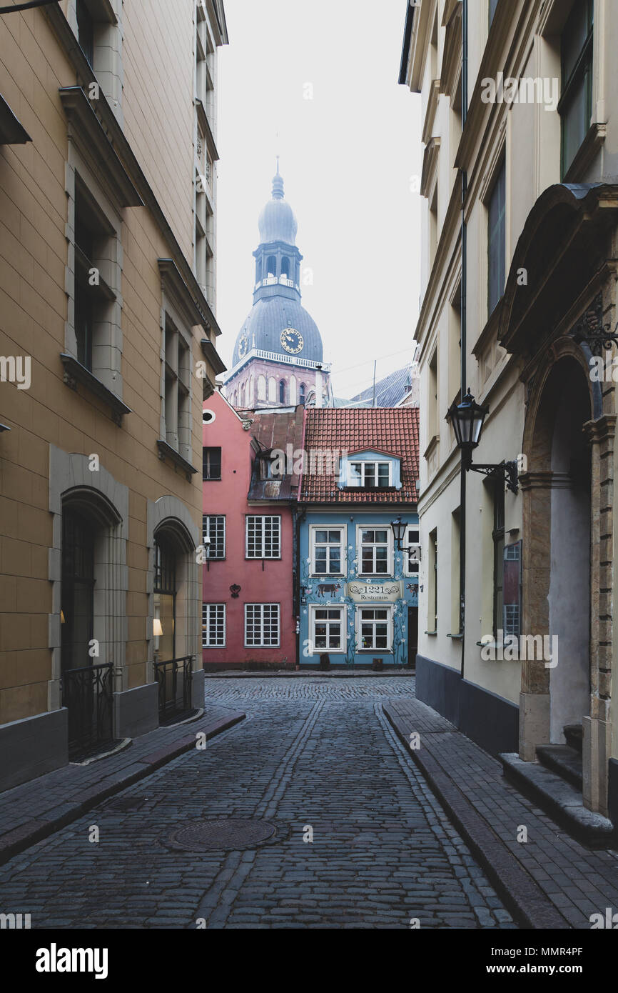RIGA, LATVIA - NOVEMBER 23, 2014.A street in old tow Riga, Latvia - Stock Image