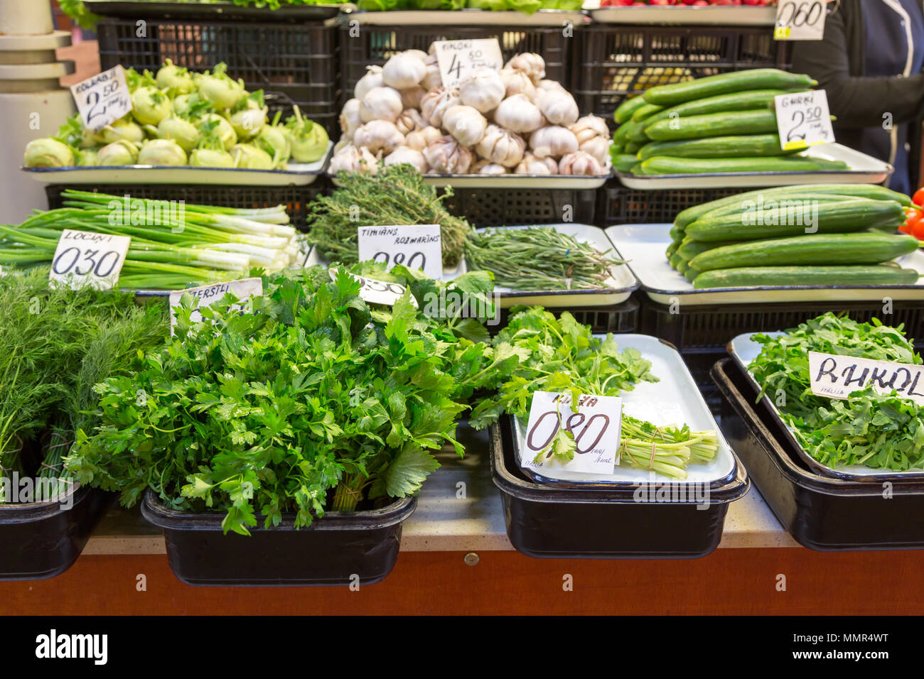 Vegetables stall in Riga central market, Latvia - Stock Image