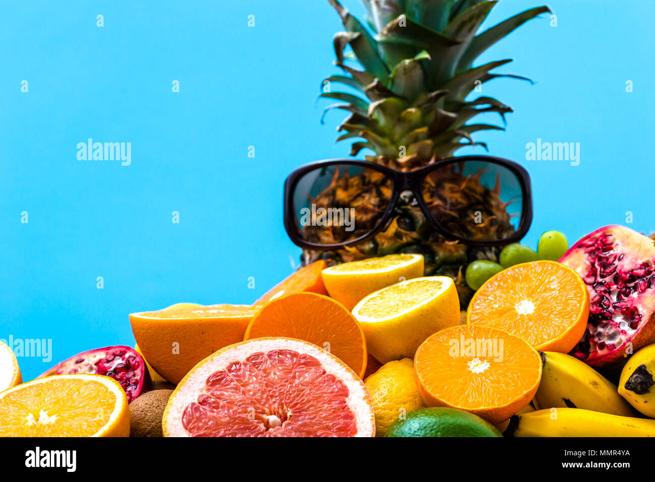 fresh fruit tropical juicy fruits pile of oranges pineapple and