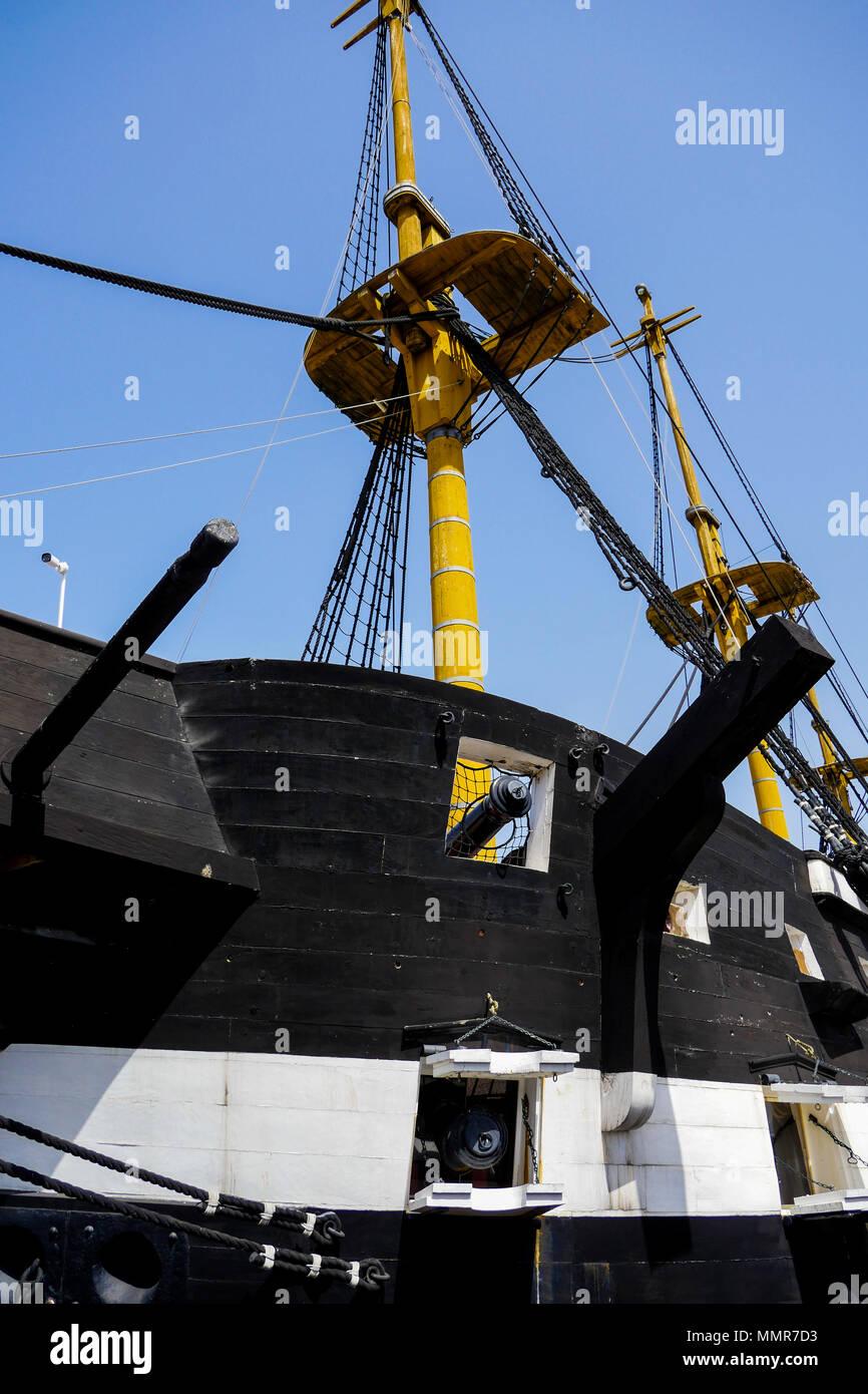 Dom Fernando II e Gloria, sailing ship, Almada district, Lisbon, Portugal - Stock Image