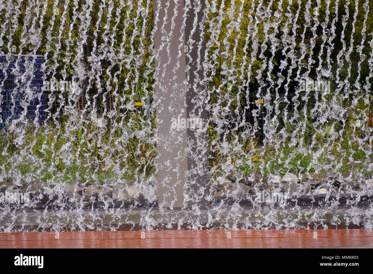 Water curtain  Park of the Nations district, Lisbon Portugal - Stock Image