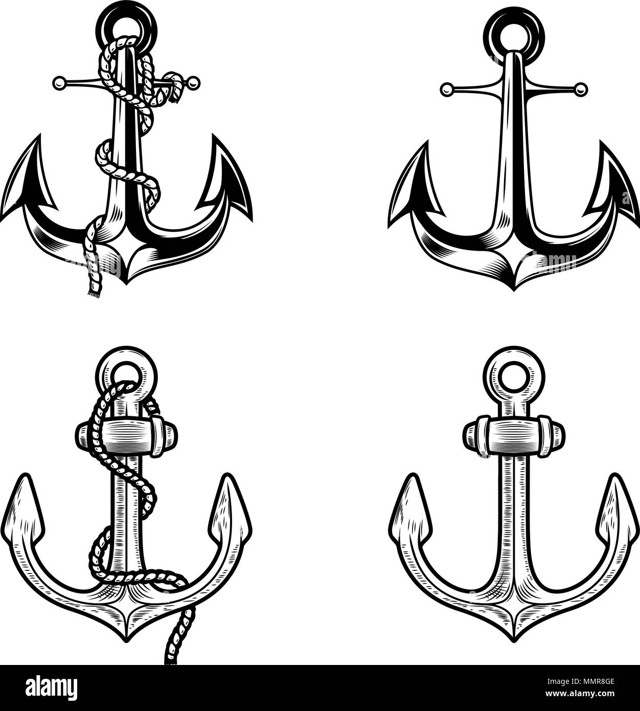Set of anchors on white background  Design elements for logo