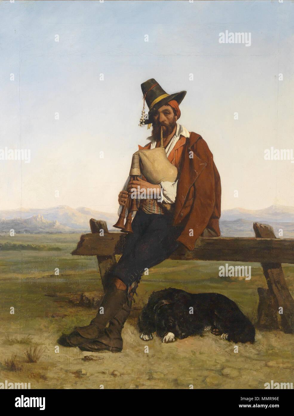 . Italienische Landschaft mit einem musizierenden Hirten, signiert, datiert Charpentier 1836, Öl auf Leinwand, 91,9 x 71,1 cm  . 1836. Auguste Charpentier Musizierender Hirte 1836 Stock Photo