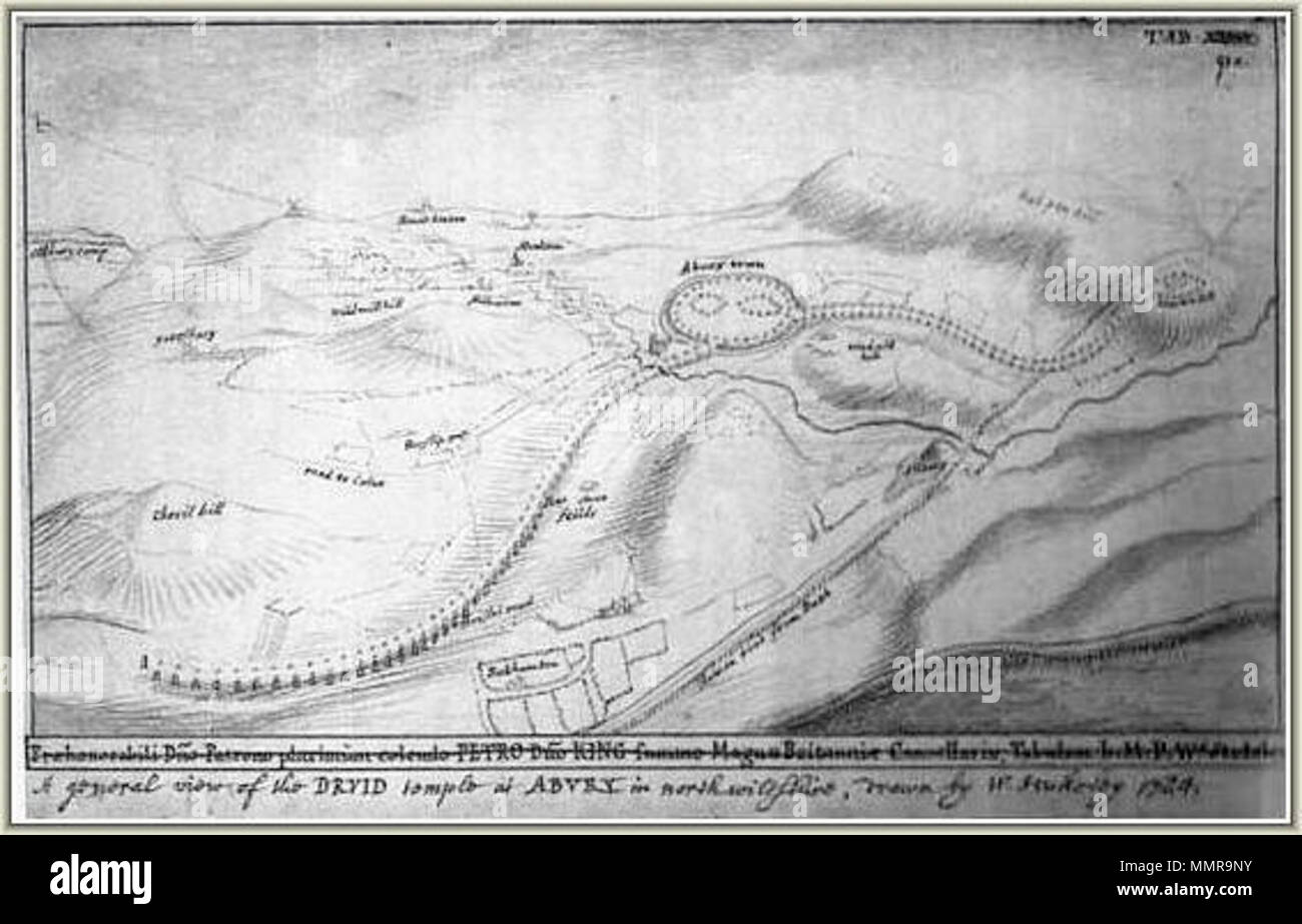 . English: William Stukeley's vision of the complete Beckhampton Avenue Español: Grabado de William Stukeley de la Avenida de Beckhamton, complejo prehistórico de Avebury.  . circa 1724.   William Stukeley  (1687–1765)       Alternative names Rev. William Stukeley  Description British antiquarian and biographer Biographer of Isaac Newton  Date of birth/death 7 November 1687 3 March 1765  Location of birth/death Holbeach London  Authority control  : Q1381018 VIAF:?69060428 ISNI:?0000 0001 2138 1891 ULAN:?500001185 LCCN:?n83151857 NLA:?35530256 WorldCat Avenuestukeley - Stock Image