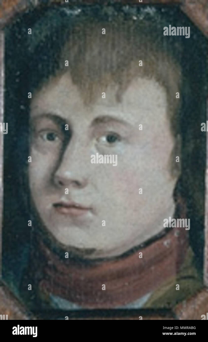 .  English: John Ritto Penniman, Self-Portrait in Miniature, 1796, oil on paper, 3 x 2 1/4 inches (7.6 x 5.7 cm), private collection. 1796 JRPenniman SelfPortrait Stock Photo