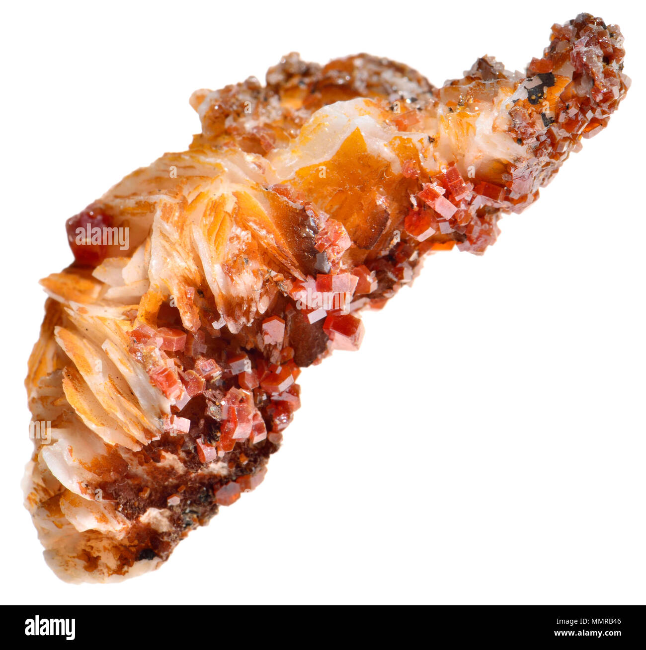 Baryte (Barium sulphate) with small red Vanadinite crystals (vanadate and chloride of lead) - Stock Image