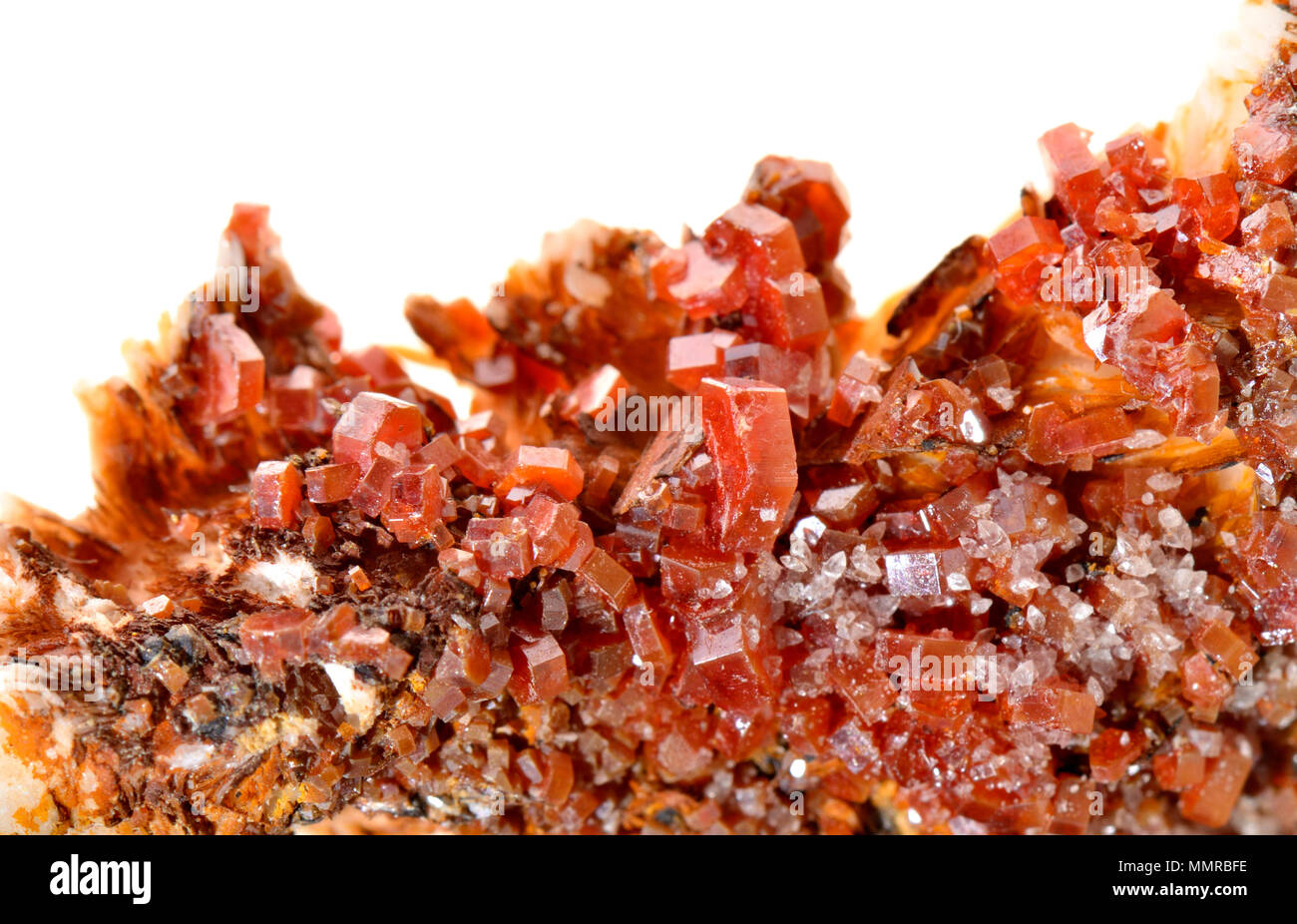 Red Vanadinite crystals (vanadate and chloride of lead) - Stock Image