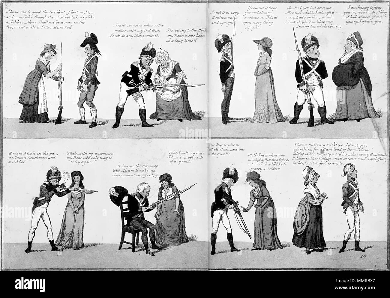 English: 'Female Opinions on Military Tactics', a 1790s