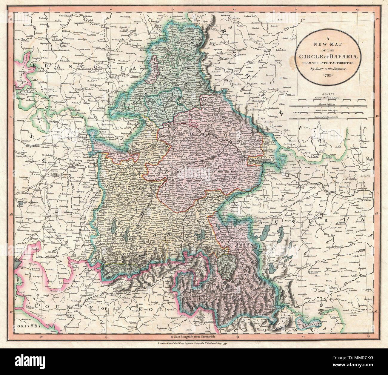English John Cary S 1799 Map Of The Circle Of Bavaria Germany