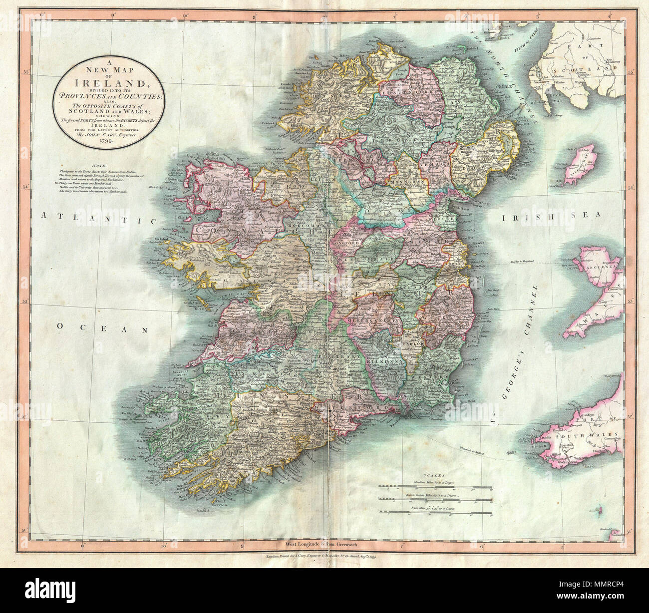 Map Of Ireland With Counties And Provinces.English John Cary S Wonderful 1799 Map Of The Ireland Depicts The