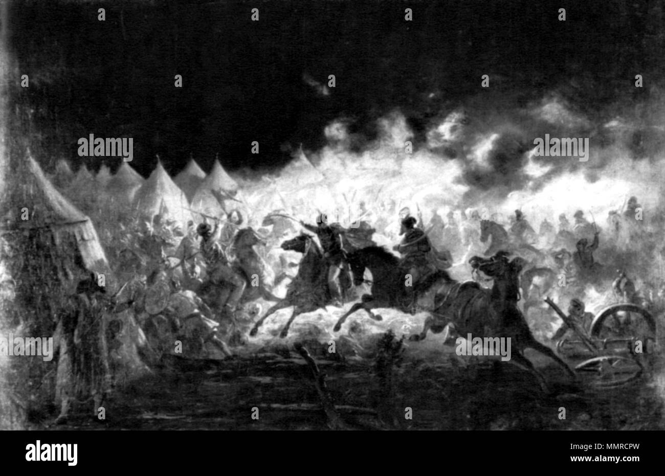 ". ""Battle with torches""  . 19th century.   Theodor Aman  (1831–1891)     Alternative names ?????? ????; Théodor ????; ??????? ?????? ????; Teodor Aman; Théodor Aman; Dimitrie Mihali Dimo  Description Romanian painter  Date of birth/death 20 March 1831 19 August 1891  Location of birth/death Câmpulung Bucure?ti  Authority control  : Q716808 VIAF:?22412682 ISNI:?0000 0000 8101 6549 ULAN:?500032448 LCCN:?n83237389 NLA:?35878987 WorldCat Bataliacufacle - Stock Image"