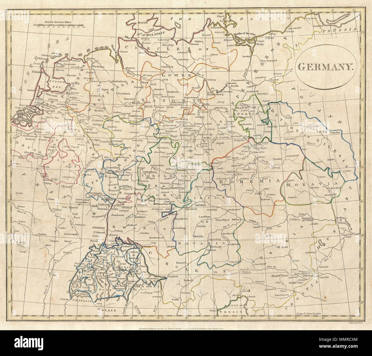 english a fine 1799 map of germany by the english map publisher clement cruttwell includes the regions of westphalia the upper and lower rhine