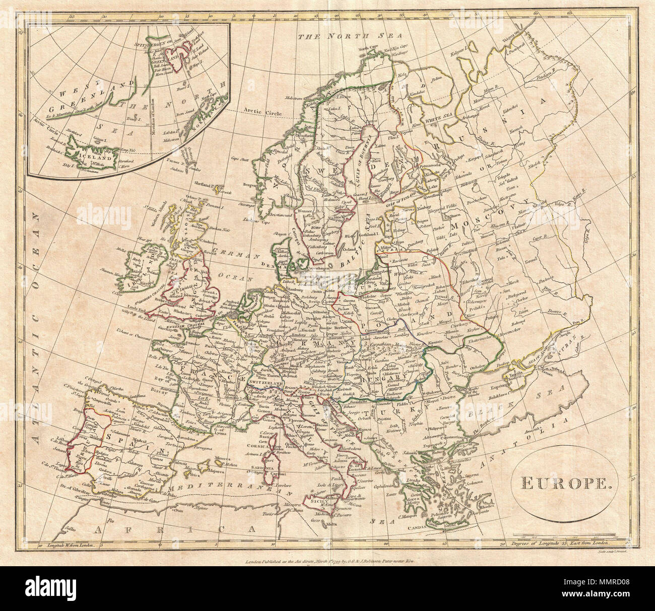 Picture of: English A Fine 1799 Map Of Europe By The English Map Publisher Clement Cruttwell Covers The Entire European Continent Including An Very Confusing Inset Of Greenland Spitsbergen And Iceland Also Includes