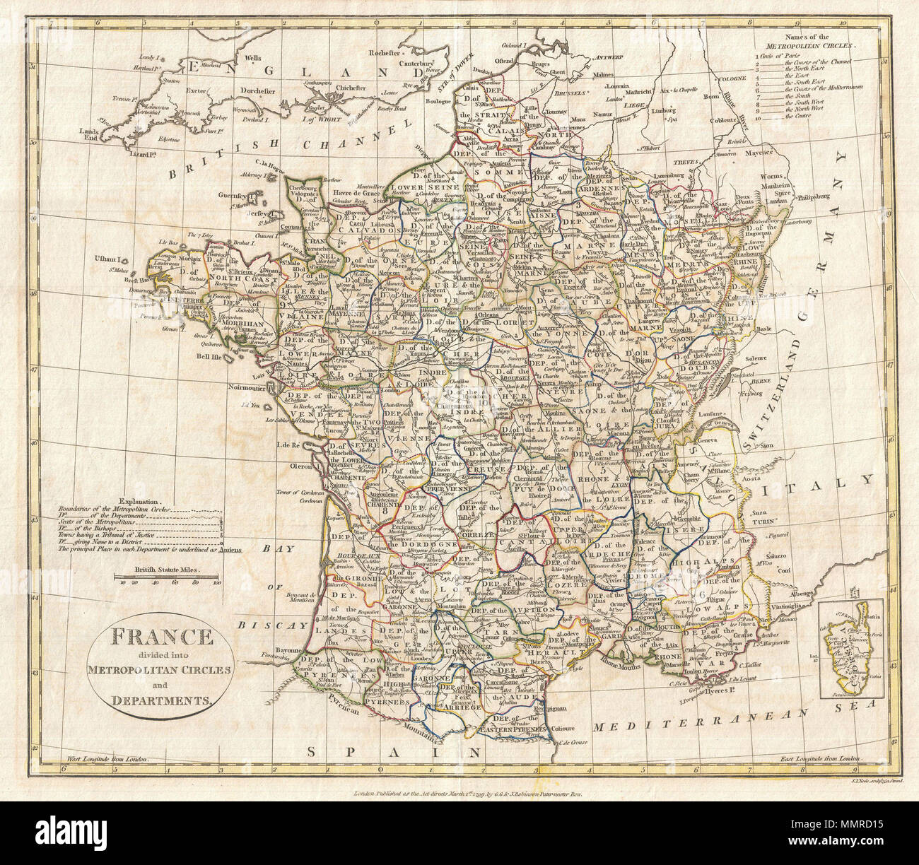 English Map Of France.English A Fine 1799 Map Of France Divided Into Metropolitan Circles