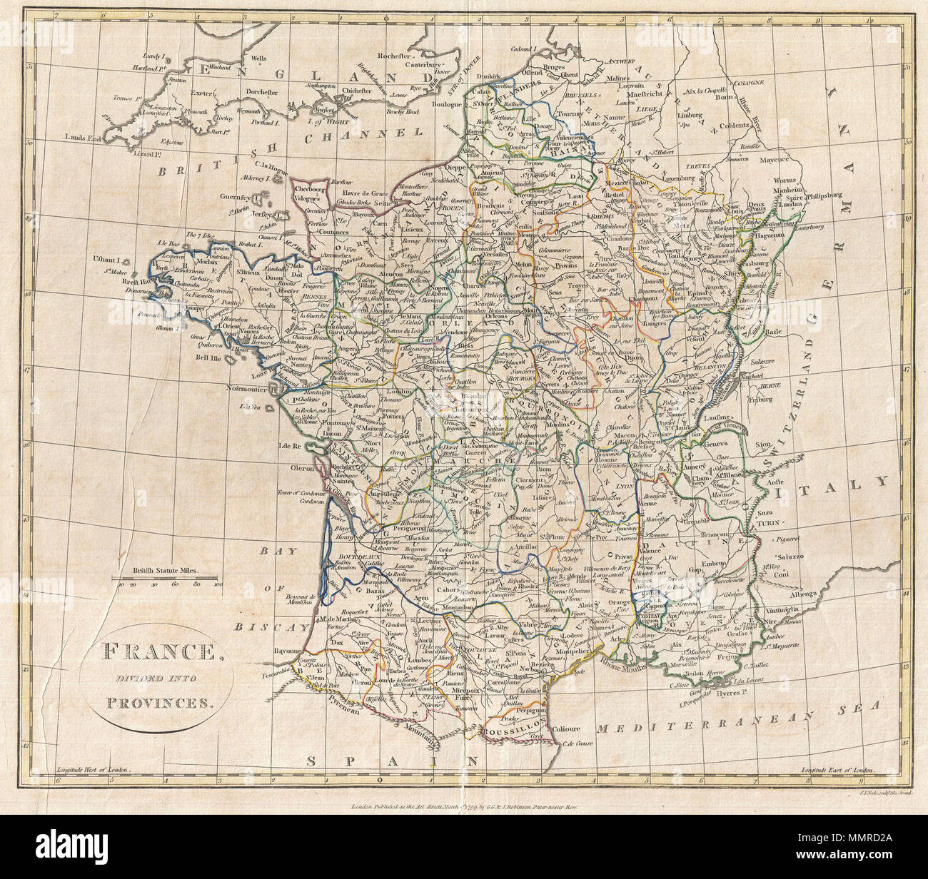 English Map Of France.English A Fine 1799 Map Of France Divided Into Provinces By The