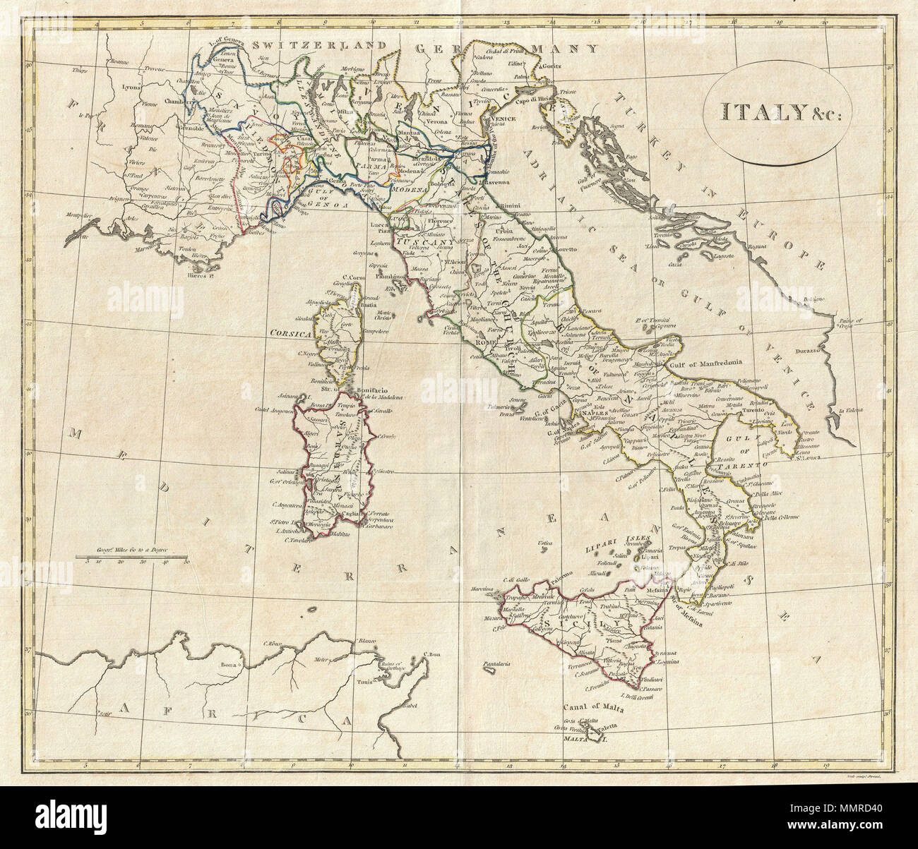 English A Fine 1799 Map Of Italy By The English Map Publisher