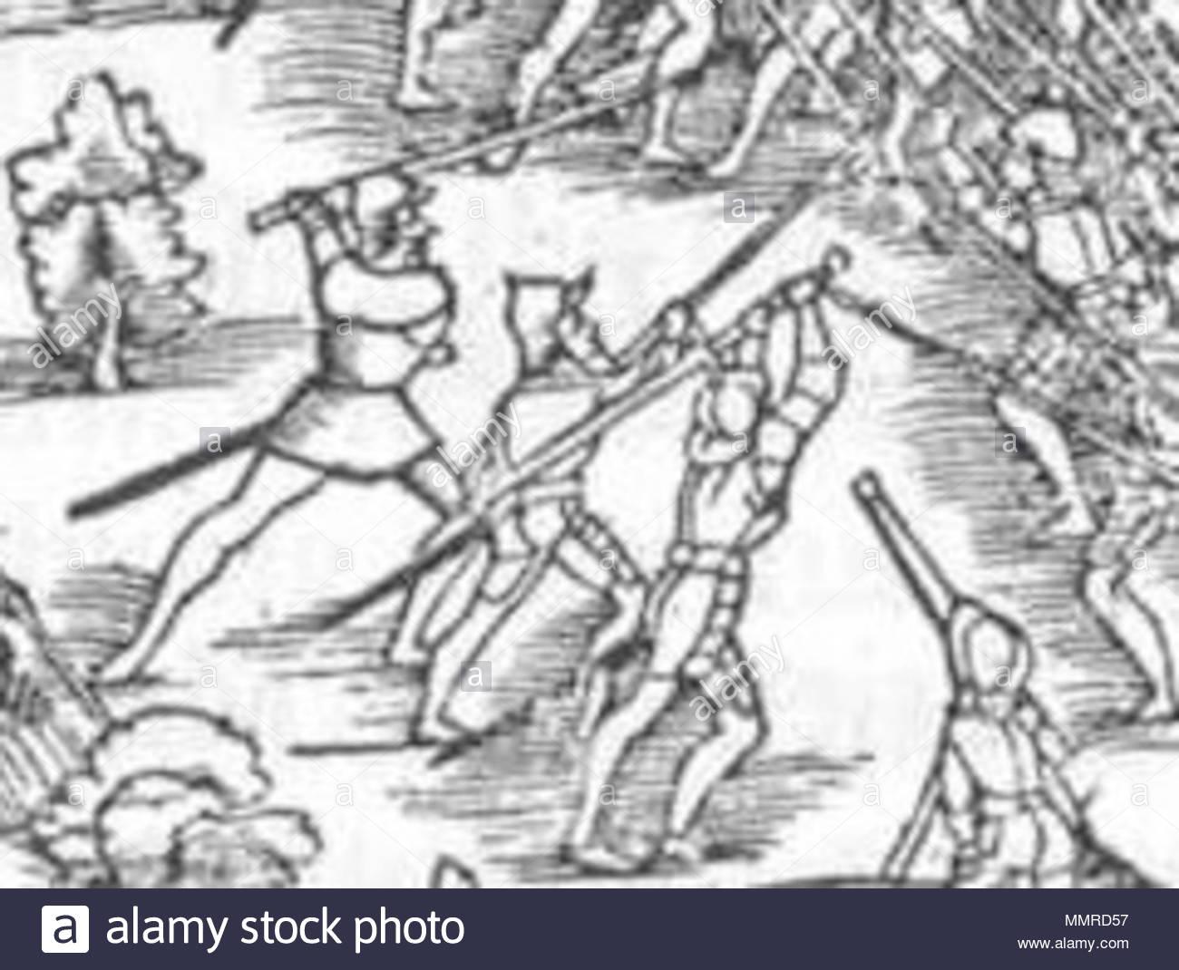 . English: Detail of The battle of Kappel, October 11, 1531.  . 1548. Johannes Stumpf, Hans Asper Battle of Kappel detail Stock Photo
