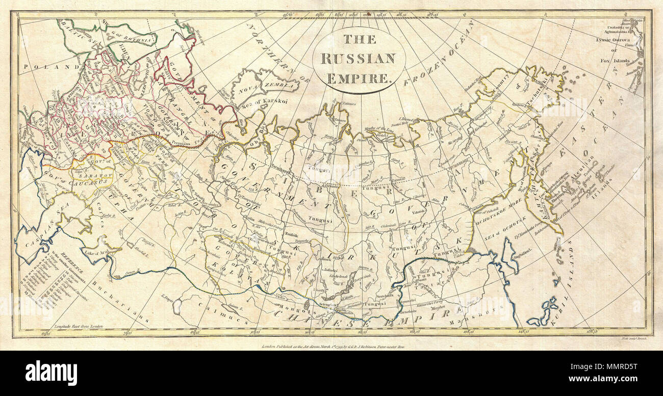.  English: A fine 1799 map of the Russian Empire by the English mapmaker Clement Cruttwell. Covers the entire region and makes note of the many regional governments, or oblasts, as they were then known. These include the governments of Archangel, Vologda, Upha, Caucasus, and Saratov in the west. The most notable, however, are the Governements of Tobolsk and Irkutsk in central Russia. Tobolsk is the historic capital of Siberia, and is now part of current day Tyumen Oblast. After administrative division of the territory, Tobolsk remained the seat of the Governor-General of Western Siberia until - Stock Image