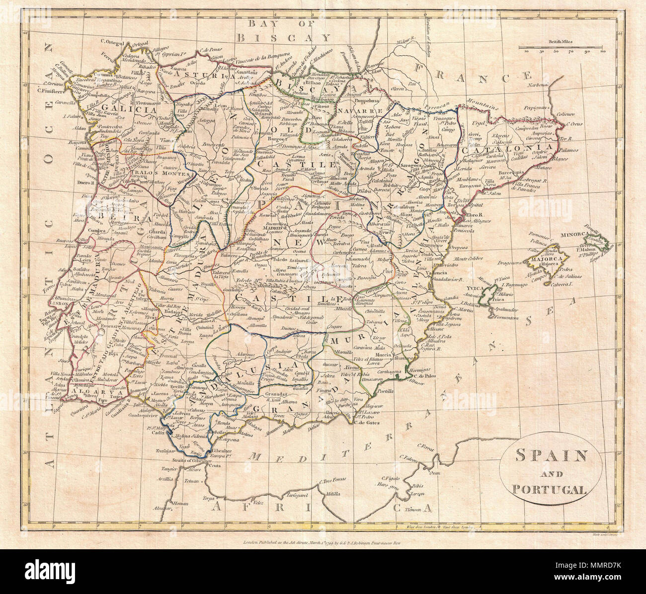 Map Of Spain Over Time.English A Fine 1799 Map Of Spain And Portugal By The English Map