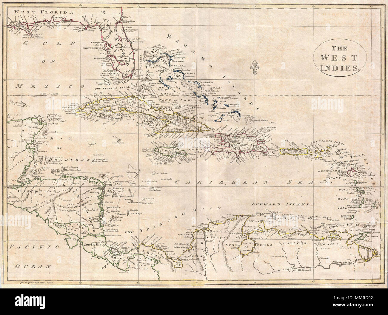 Map Of Florida Cuba And Puerto Rico.English A Fine 1799 Map Of The West Indies By The English Mapmaker