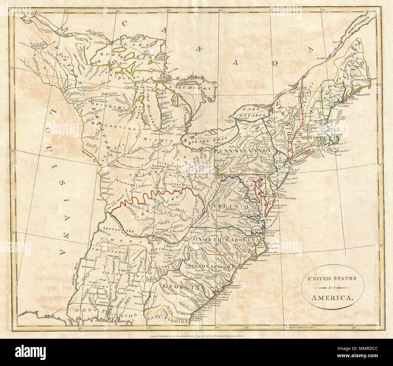 Colonial Map Of United States Stock Photos Colonial Map Of United