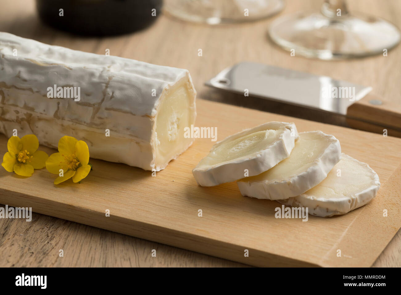 Traditional French goats cheese and slices - Stock Image