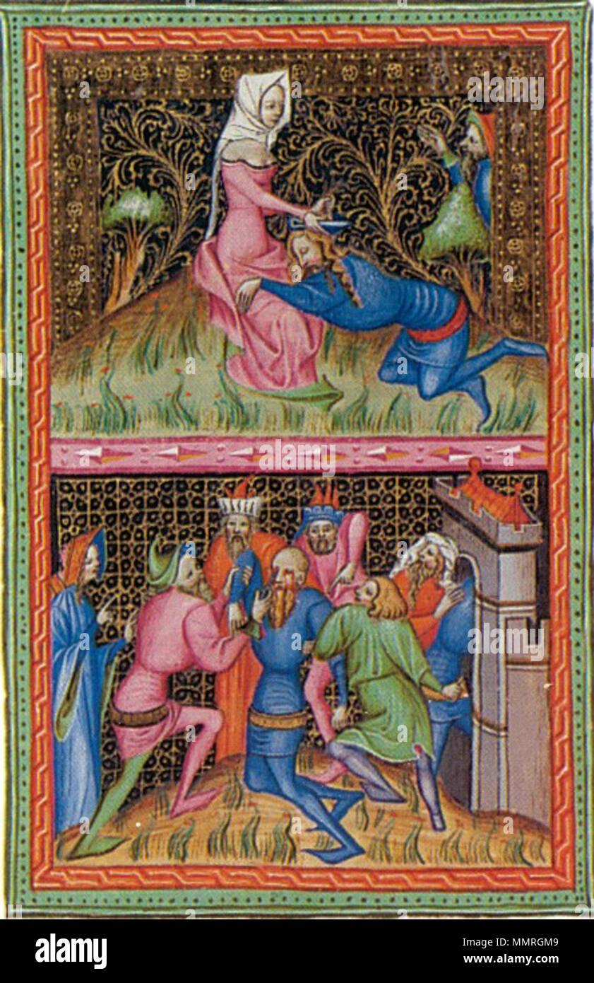 . English: Bible of Wenceslaus IV. Français: Miniature de la Bible de Wenceslas: Samson et Dalila  . 1389. Unknown Bible7Stock Photo