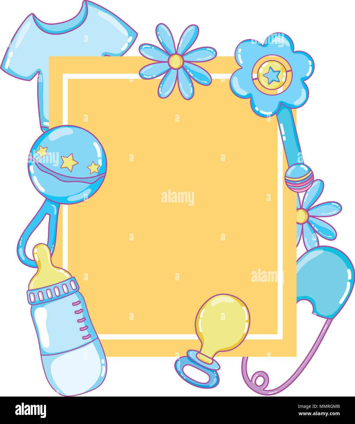 emblem style with baby things products - Stock Image