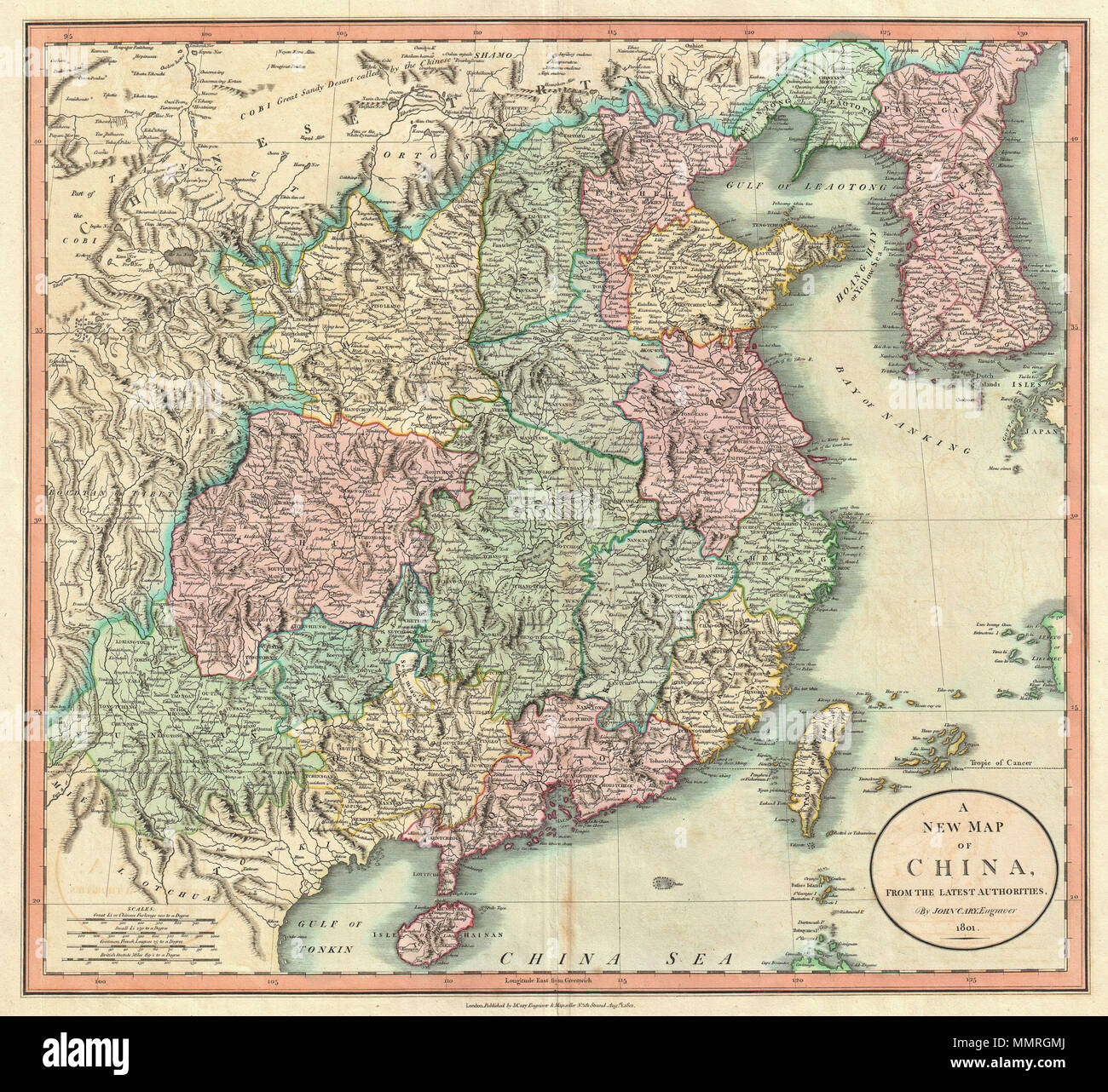 Modern Day China Map.English An Exceptionally Beautiful Example Of John Cary S Important