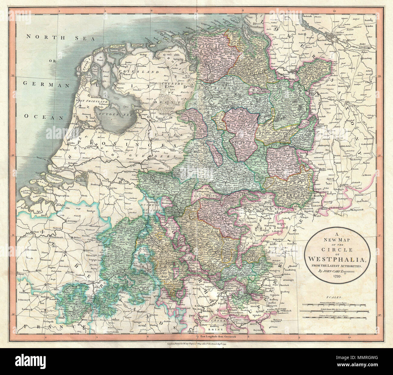 english an extremely attractive example of john carys 1799 map of the westphalia region of germany covers from the north sea to the lower rhine