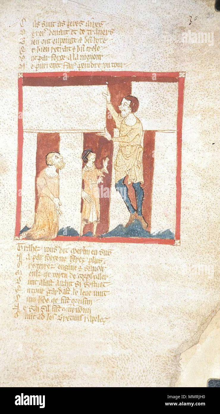 . Fol. 30r. Depicted person: Merlin. This illustration shows the construction of Stonehenge by a giant with the assistance of Merlin. It is the oldest known illustration of Stonehenge.  Roman de Brut, a verse epitome (begins imperfectly) with continuation to Edward III; La Destruction de Rome; Fierabras. between 1325 and 1350. Wace BLEgerton3028Fol30rStonehenge Stock Photo