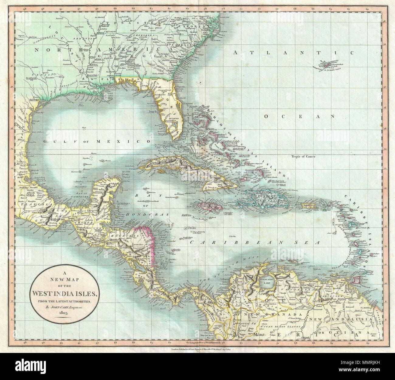 Detail Map Of Florida.English A Beautiful Example Of John Cary S Important 1803 Map Of