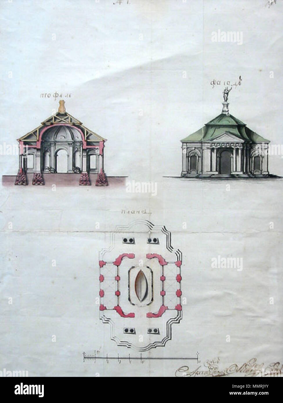 . English: The project of stone pavilion for Boats of Peter I storage in Peter & Paul Fortress territory. 1761. year plan of the peter and paul fortress in Saint Petersburg. The plan, facade, section. Architect A.F.Wist. A watercolour. Russian State Archive of Ancient Acts (in Moscow). Русский: Проект каменного павильона для хранения Ботика Петра I на территории Петропавловской крепости. 1761 г., План, фасад, разрез. Архитектор А.Ф. Вист. Акварель. РГАДА.  . 1761. Alexander Franzevich Wist (1721(2)—1794?) Boat House project by Wist 1761 - Stock Image