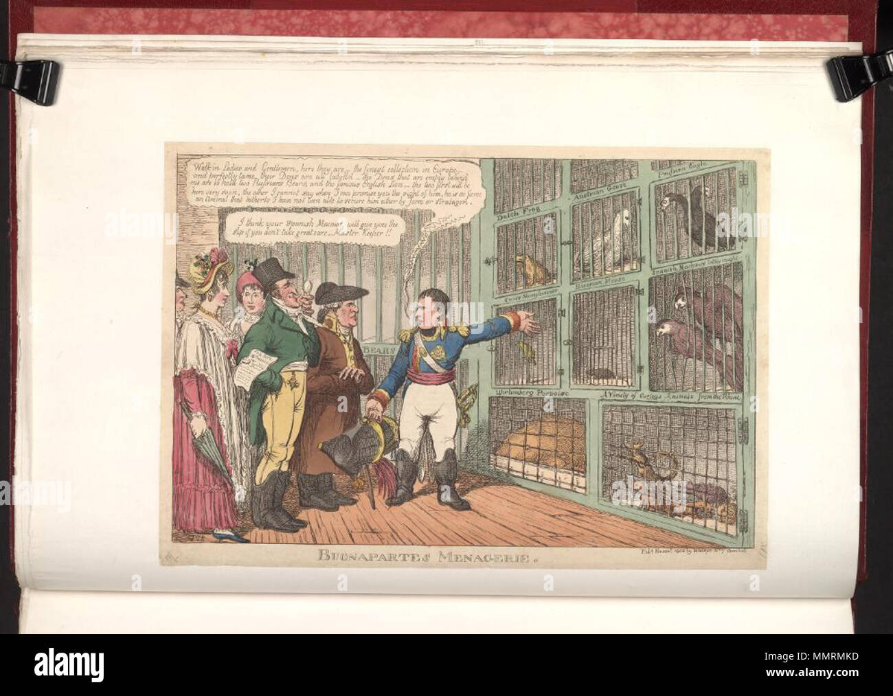 . Caricature of Napoleon I. (British political cartoon); Napoleon shows his collection of animals representing European nations to a group of English citizens. One man, resembling the Duke of Wellington, remarks that the Spanish Macaws look likely to escape.; Attribution from BMC  Buonapartes menagerie. November 1808. Bodleian Libraries, Buonapartes menagerie - Stock Image