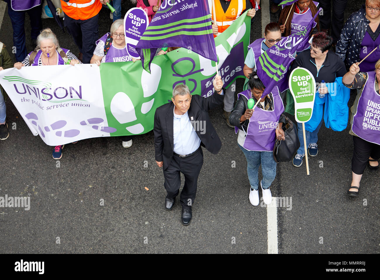 Dave Prentis leads UNISON marchers at the TUC march and rally in London, 12 May 2018. - Stock Image