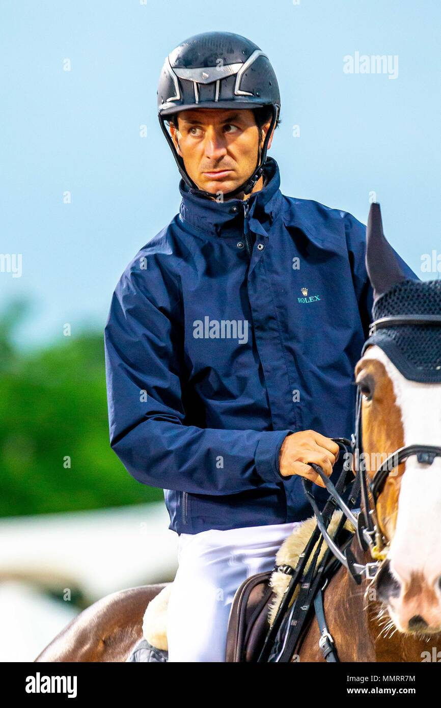 Day 4. Royal Windsor Horse Show. Windsor. Berkshire. UK.  Showjumping. The Falcon Stakes. CSI 5*.Steve Guerdat riding Ulysee Des Forets. SWI. 12/05/2018. Stock Photo
