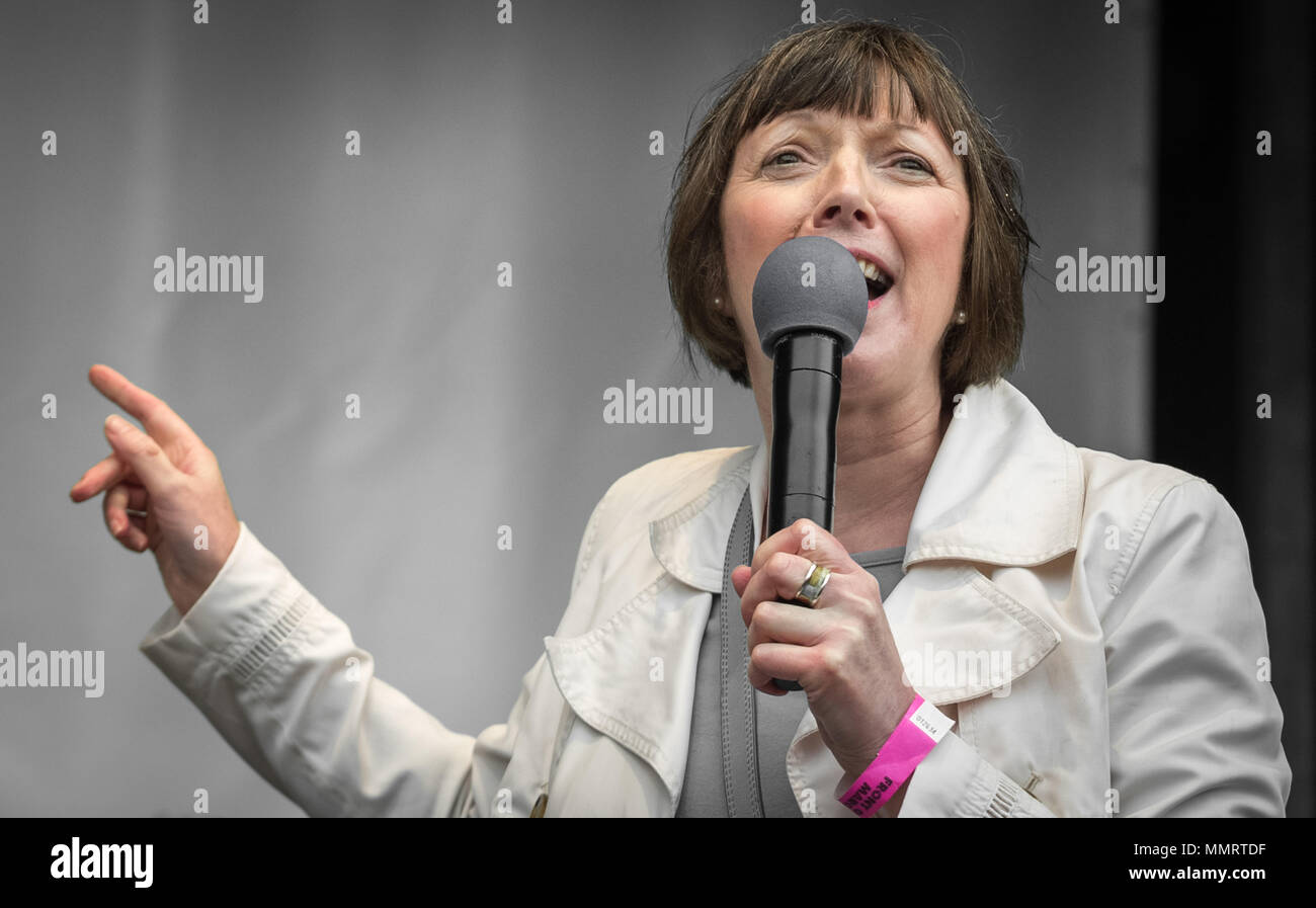 London, UK. 12th May, 2018. TUC General Secretary, Frances O'Grady, speaks to a crowd of  thousands of trade unionists during a TUC rally in Hyde Park on the theme of 'a new deal for working people', aimed against government austerity and injustice. Credit: Guy Corbishley/Alamy Live News - Stock Image
