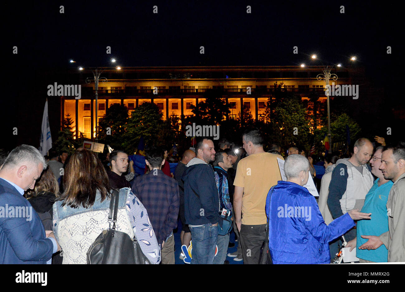 Bucharest, Romania. 12th May 2018.  Protestors outside the Romanian Fovernment Buildings demanding justice and the rule of law Credit: Douglas MacKenzie/Alamy Live News - Stock Image