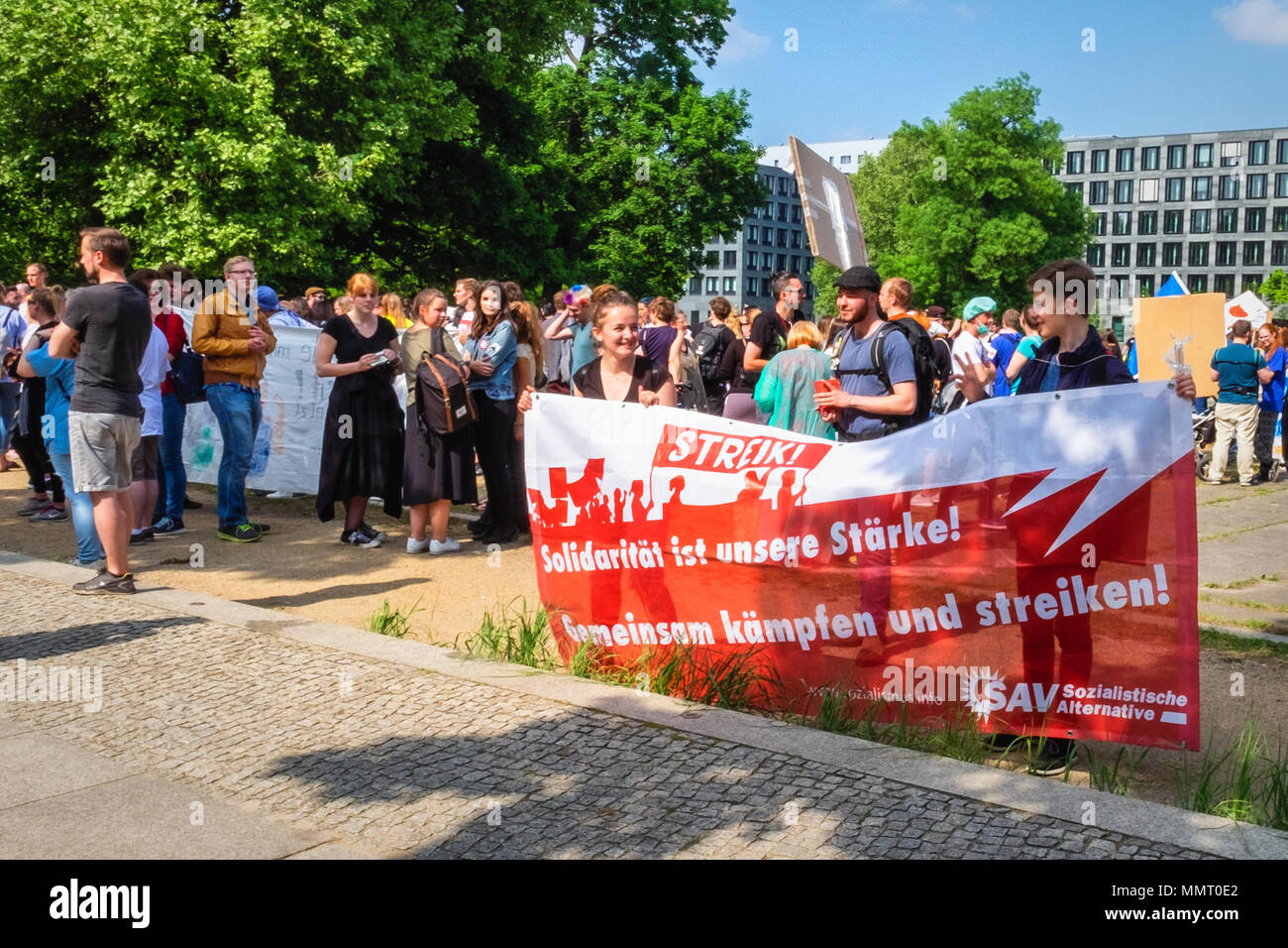 Germany, Berlin, Mitte, 12th May 2018. 'Walk for Care' demonstration on International Day of Care. Nurses, trainees and carers gathered at Invalidenpark in Berlin and marched past the Federal Ministry of Health on the International Day of Care, The protesters were demonstrating for decent conditions and education to allow nurses to deliver a high standard of care. There are approximately 35000 vacancies for nurses in Germany and clinics have to look abroad for trained staff. Credit: Eden Breitz/Alamy Live News - Stock Image